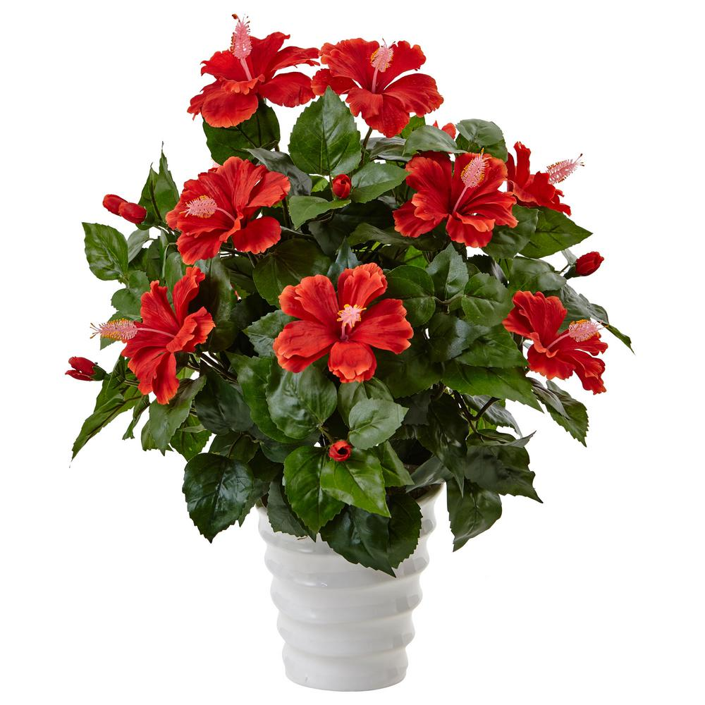 Indoor Hibiscus Artificial Flowering Plant in Swirl Planter