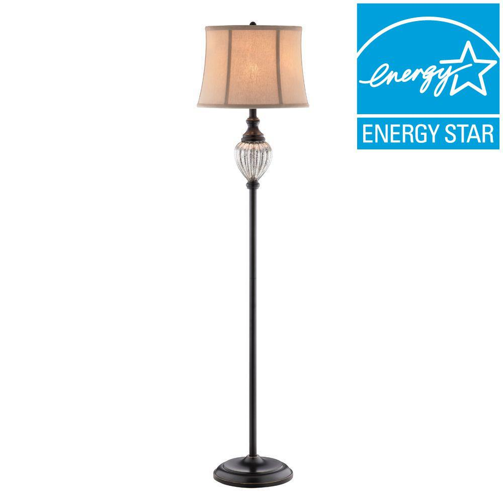 Hampton Bay Highgate 58.25 in. Mercury Glass and Oil Rubbed Bronze Font Floor Lamp with TTL 20 Compliant Fixture