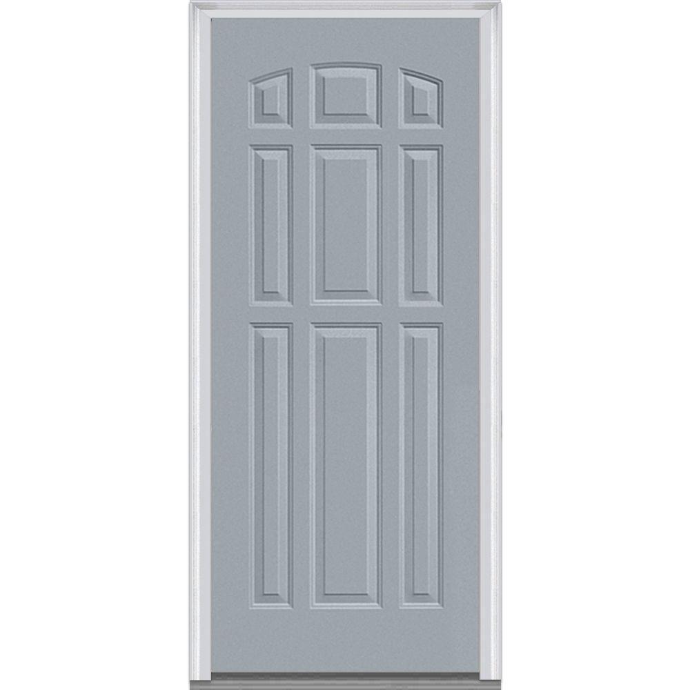 Mmi Door 36 In X 80 In Left Hand Inswing 9 Panel Classic Painted Fiberglass Smooth Prehung