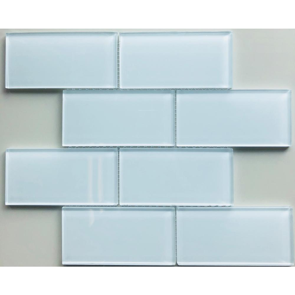 Valencia 3 X 6 Super White 1225 In X 1475 In X 8mm Glass Mosaic