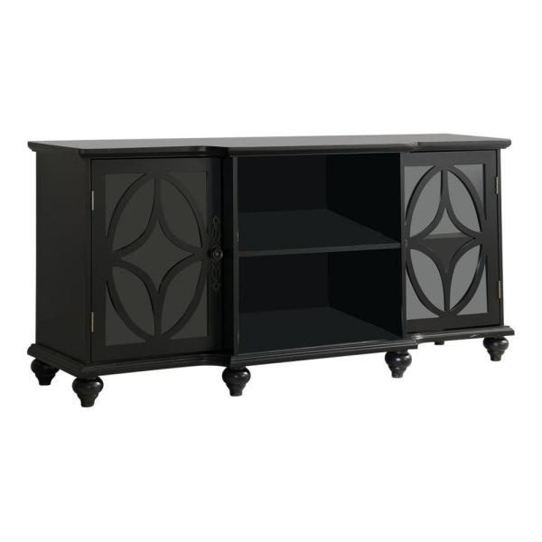 Kings Brand Furniture Classic Black TV Stand / Entertainment Center with