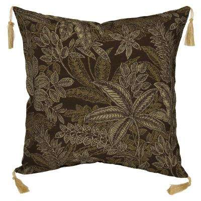 Palmetto Espresso Square Outdoor Throw Pillow with Tassels (2-Pack)