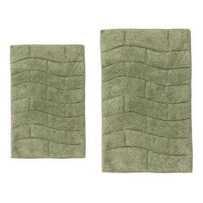 Light Sage 17 in. x 24 in. and 20 in. x 30 in. New Tile Bath Rug Set (2-Piece)