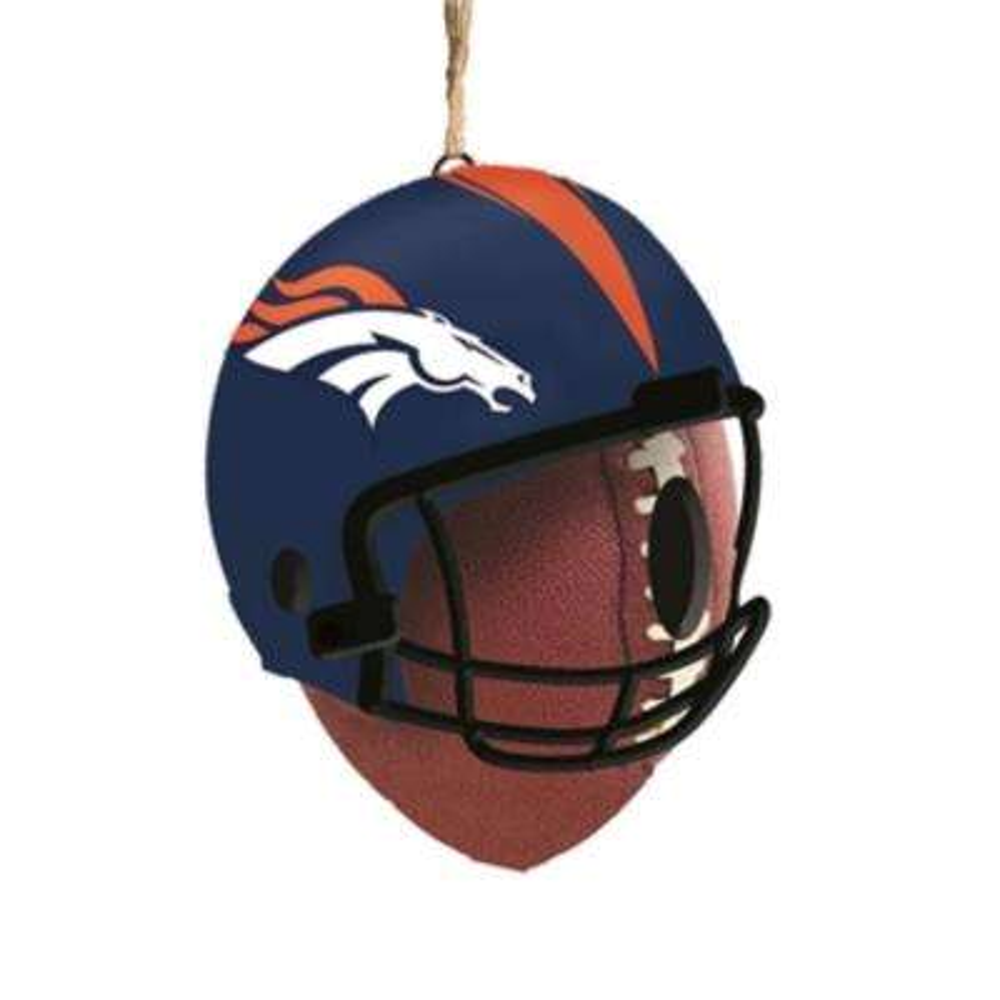 Denver Broncos 6.5 in. x 7.5 in. x 8 in. Polystone Hat/Helmet Ball Birdhouse