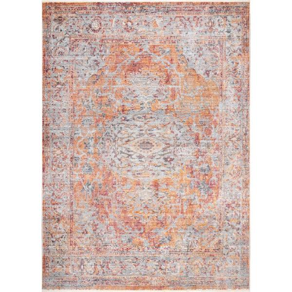 Bouquet Faded Vintage Orange 5 ft. x 8 ft.  Area Rug