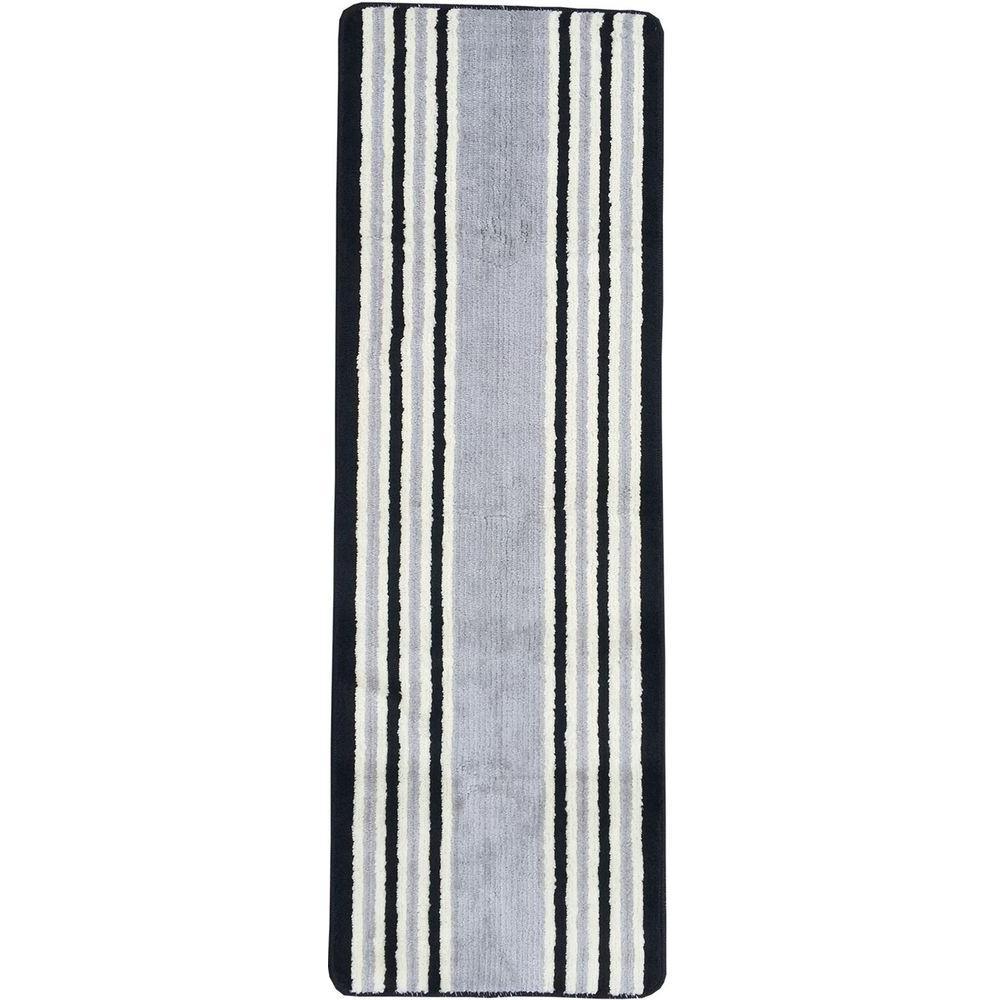 Solid Design Stripe Gray 1 ft. 8 in. x 4 ft. 11 in. Non-Slip Bathroom Rug Runner