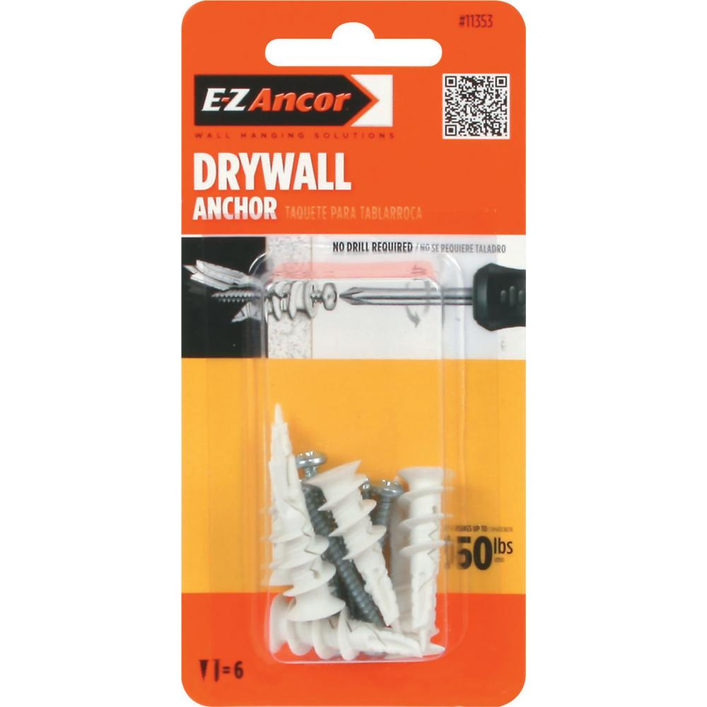 E-Z Ancor Twist-N-Lock 50 lb. Self-Drilling Drywall Anchors with Screws (6-Pack)