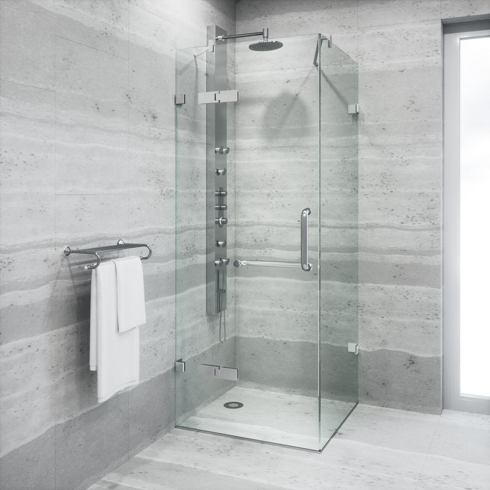 VIGO Monteray 30.25 in. x 73.375 in. Frameless Pivot Shower Enclosure in Chrome with Clear Glass