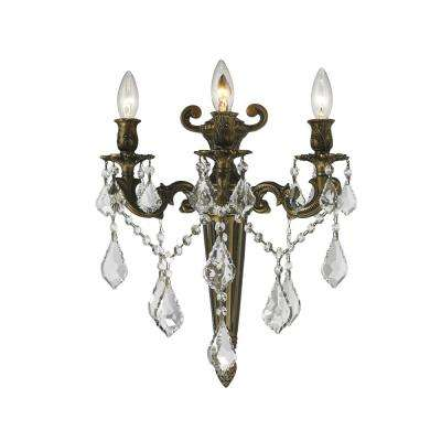 Versailles 3 Light Antique Bronze and Clear Crystal Sconce