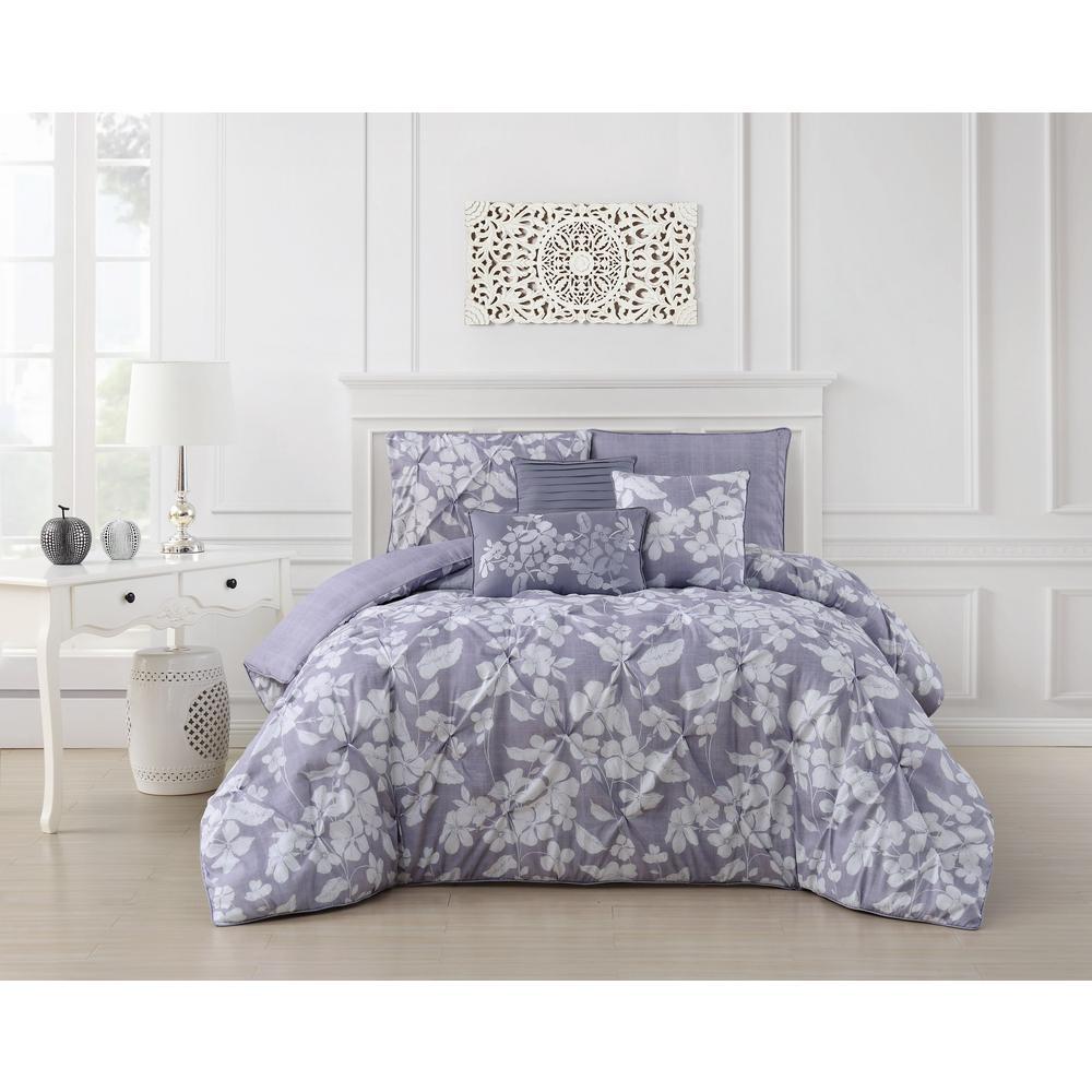 Jacqueline 6-Piece Pinch Pleat Orchid Queen Comforter Set