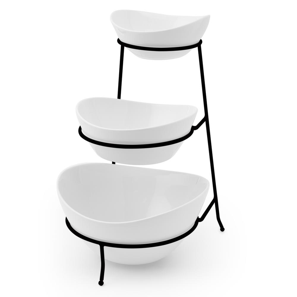 3-Piece Oval Bowls with Metal Stand