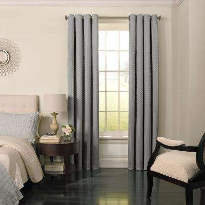 Malbrouk Blackout Window Curtain Panel in Smoke - 52 in. W x 63 in. L