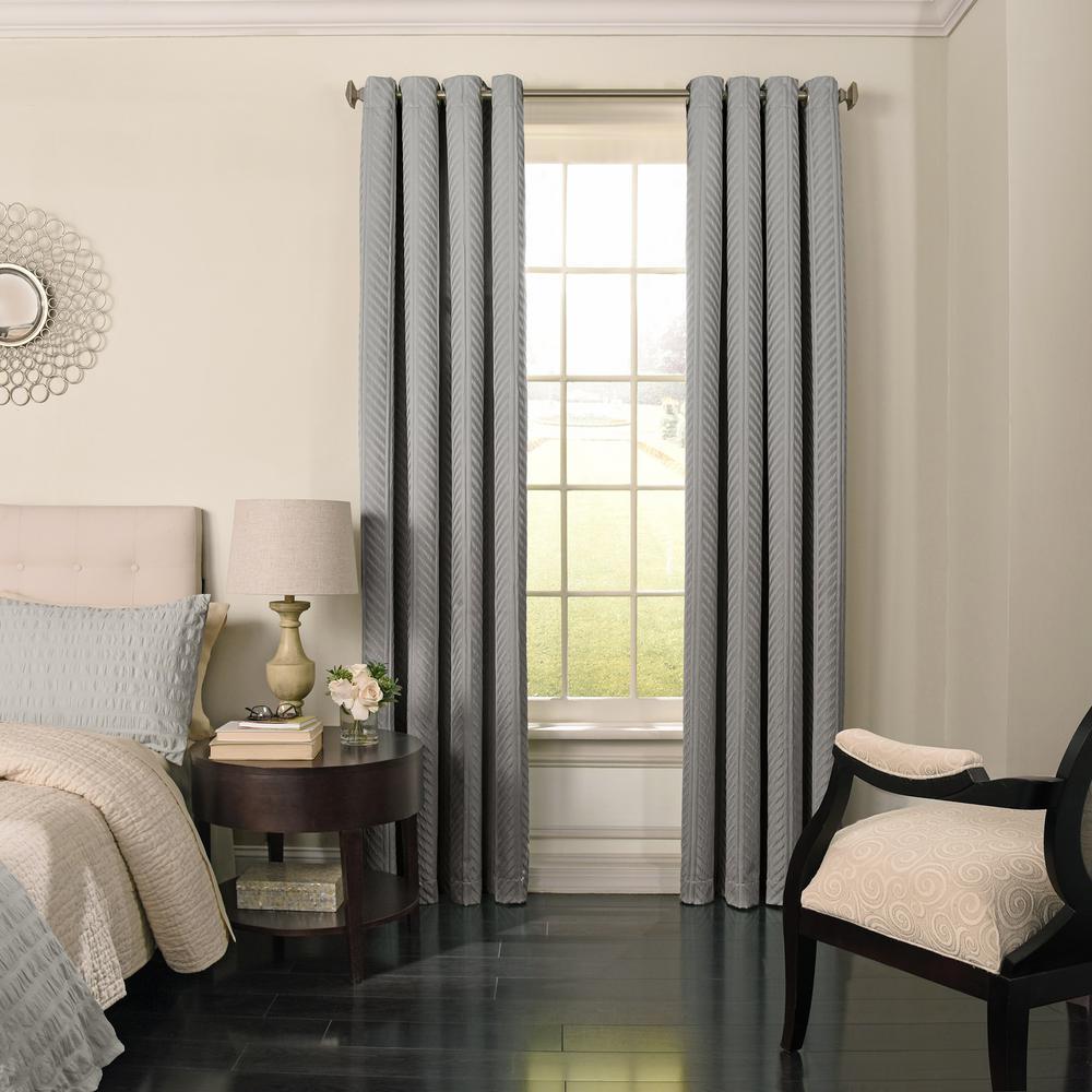 Beautyrest Malbrouk Blackout Window Curtain Panel in Smoke - 52 in. W x 95 in. L