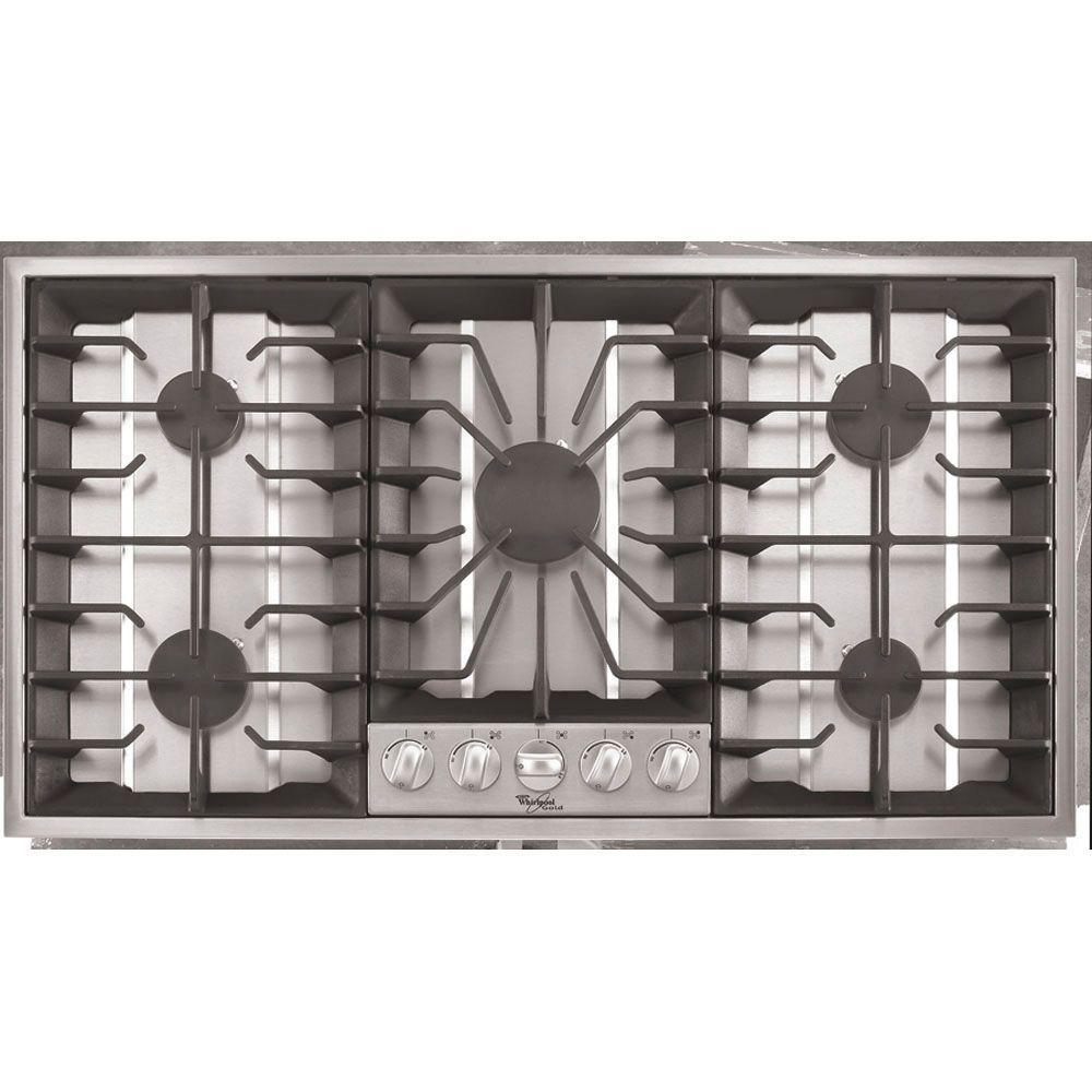 Whirlpool Gold 36 in. Gas Cooktop in Stainless Steel with 5 Burners Including Power Burners