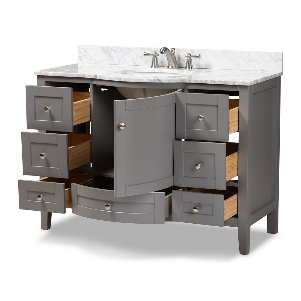 Baxton Studio Nicole 48 in. W x 34.7 in. H Bath Vanity in Gray with Vanity Top in White with High Gloss White Basin