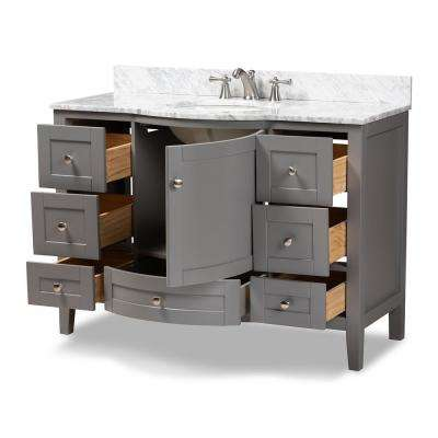 Nicole 48 in. W x 34.7 in. H Bath Vanity in Gray with Vanity Top in White with High Gloss White Basin