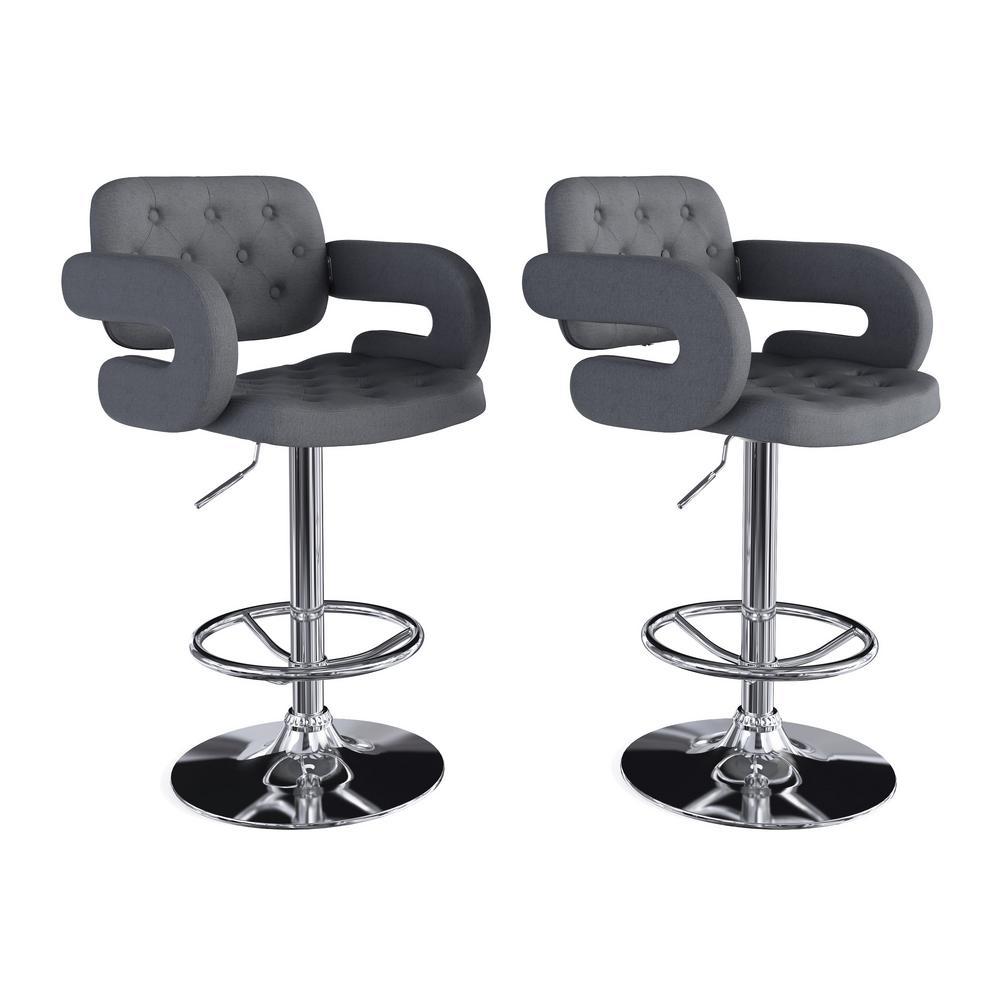Adjustable Height Tufted Dark Grey Fabric Bar Stool (Set of 2)