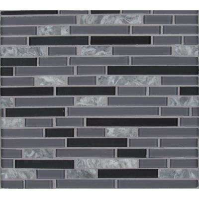 Lorena Grigio Interlocking 12 in. x 12 in. x 4mm Glass Stone Mesh-Mounted Mosaic Tile (19.6 sq. ft. / case)