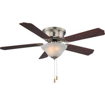52 in. 3-Light Indoor Brushed Nickel Hugger Ceiling Fan with Light,White Alabaster Glass Bowl and Rosewood/Walnut Blades
