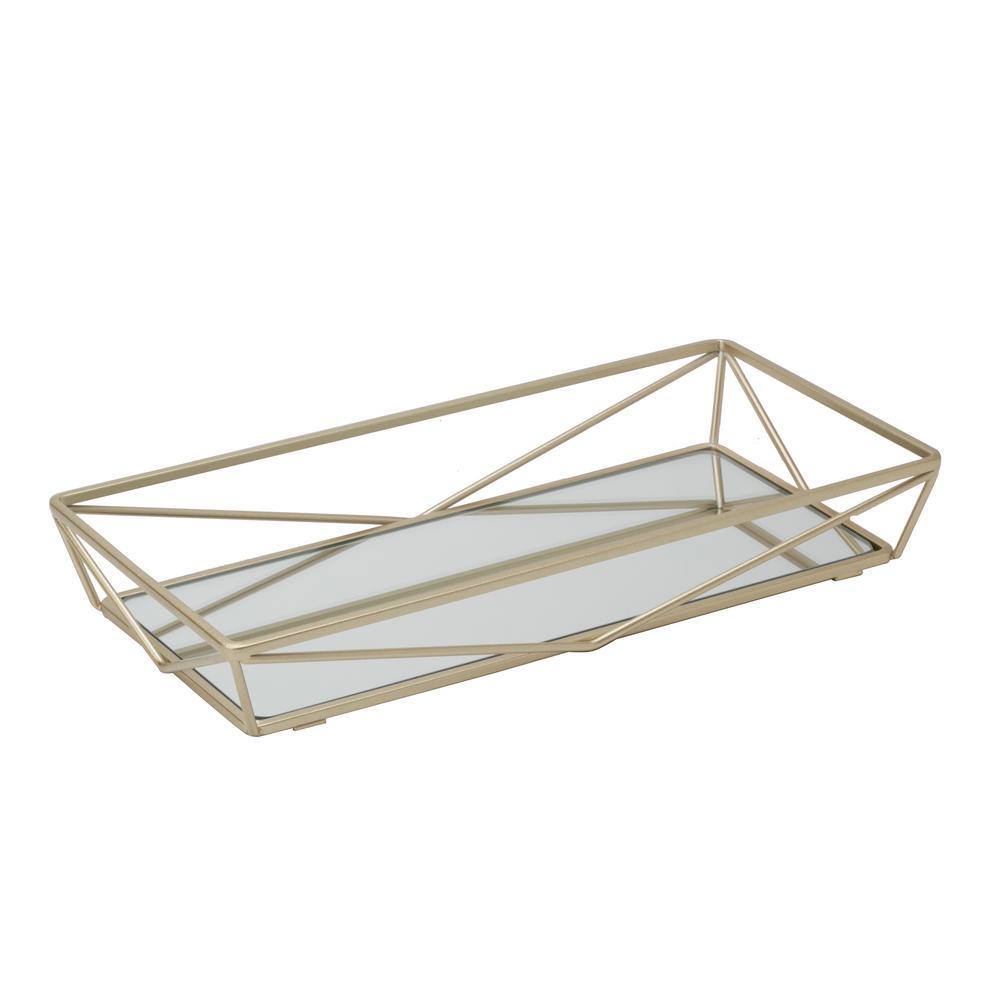 Geometric Design Mirror Vanity Tray in Gold