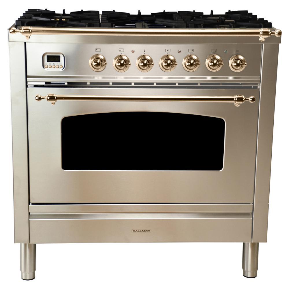 36 in. 3.55 cu. ft. Single Oven Dual Fuel Italian Range True Convection,5 Burners, LP Gas, Bronze Trim/Stainless Steel