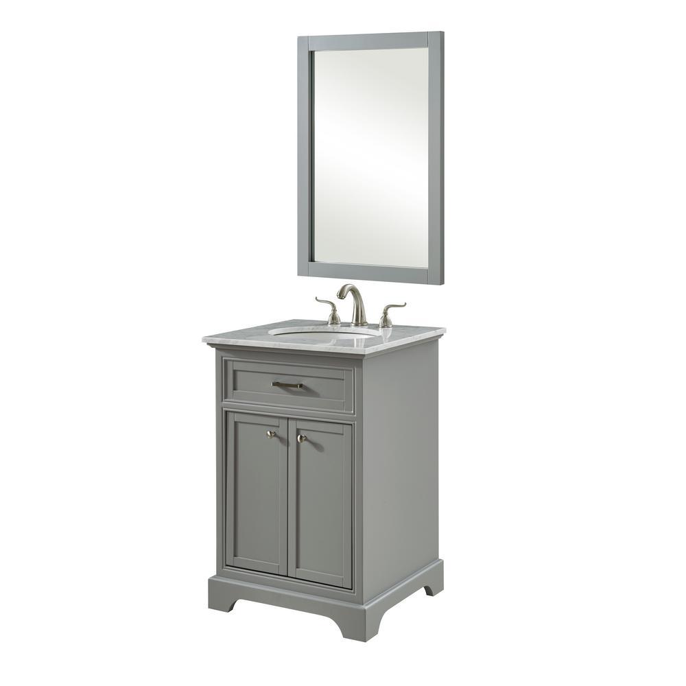 Easton 24 in. Single Bathroom Vanity with 1-Shelf 2-Doors Marble Top Porcelain Sink in Light Grey Finish