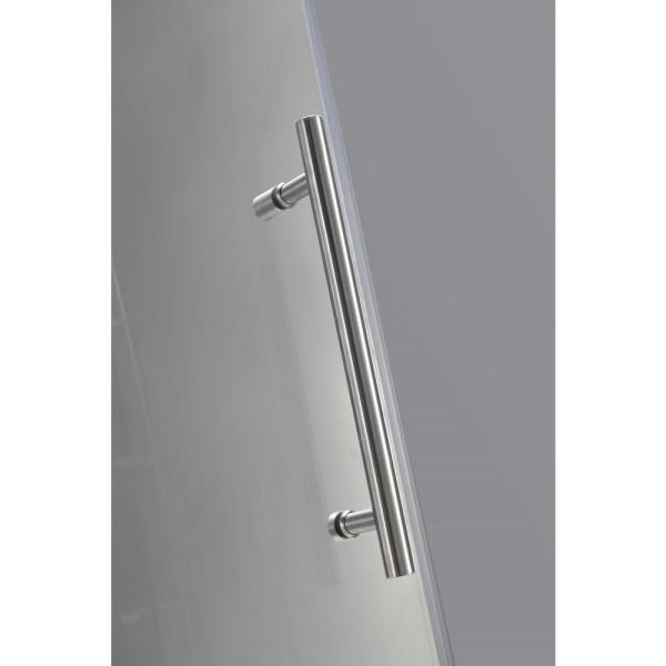 Aston Nautis Gs 38 In X 72 In Frameless Hinged Shower Door In Stainless Steel With Glass Shelves Sdr990 Ss 38 10 The Home Depot