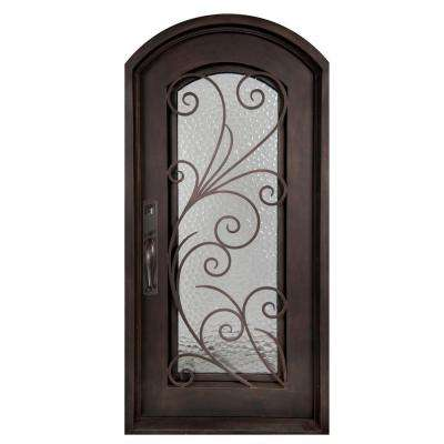 40 in. x 82 in. Flusso Classic Full Lite Painted Oil Rubbed Bronze Hammered Wrought Iron Prehung Front Door