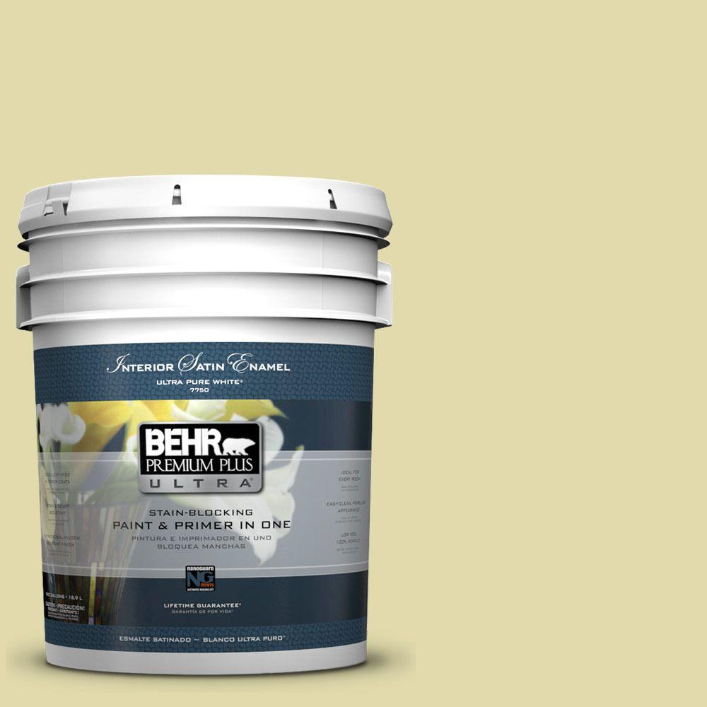 5 gal. #400C-3 Dried Palm Satin Enamel Interior Paint and Primer