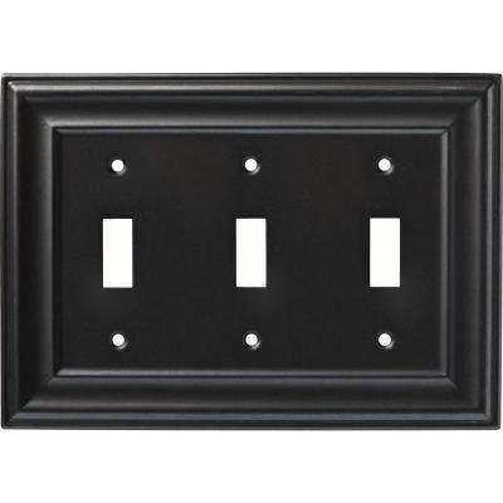 Winslow Triple Switch Wall Plate, Soft Iron