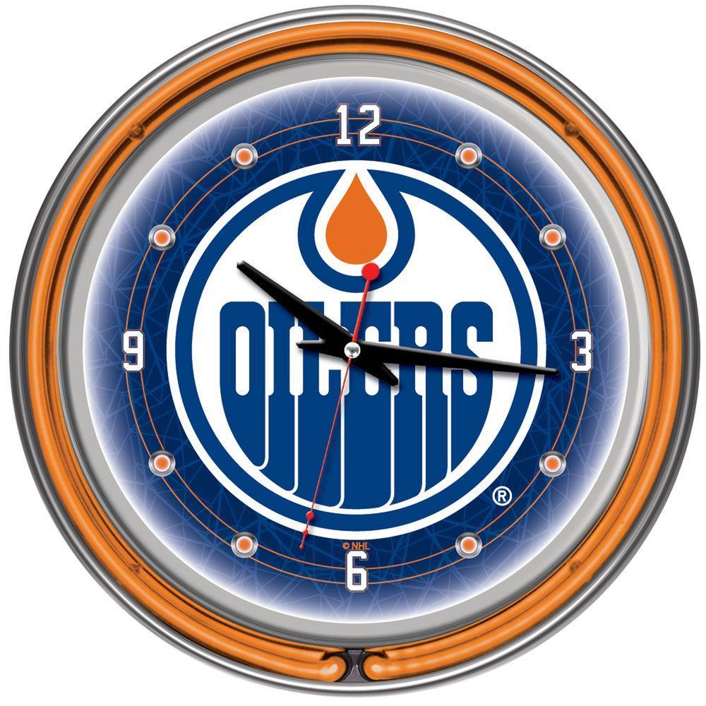 Trademark Global 14 in. Edmonton Oilers NHL Neon Wall Clock