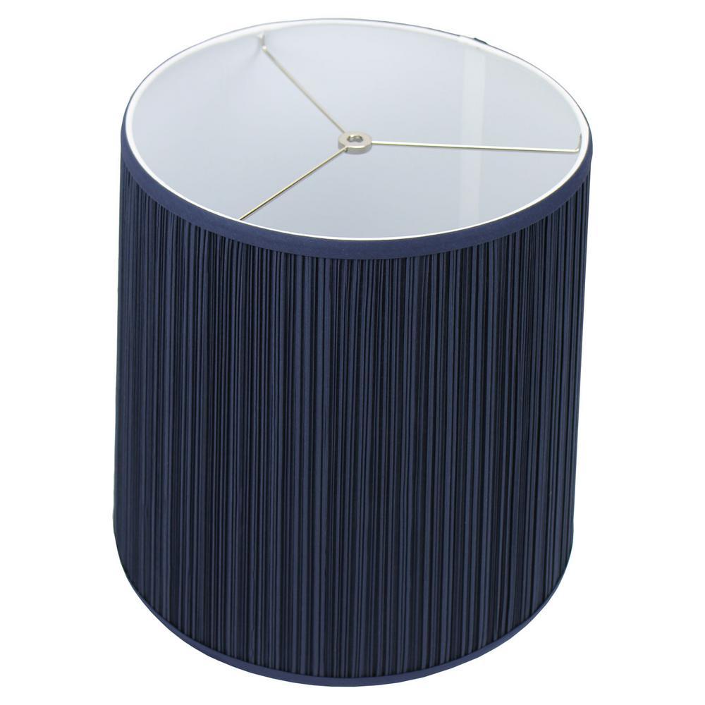 Fenchel Shades 13 in. Top Diameter x 15 in. Bottom Diameter x 17 in. Slant Pleated Mushroom Navy Blue Empire Lamp Shade