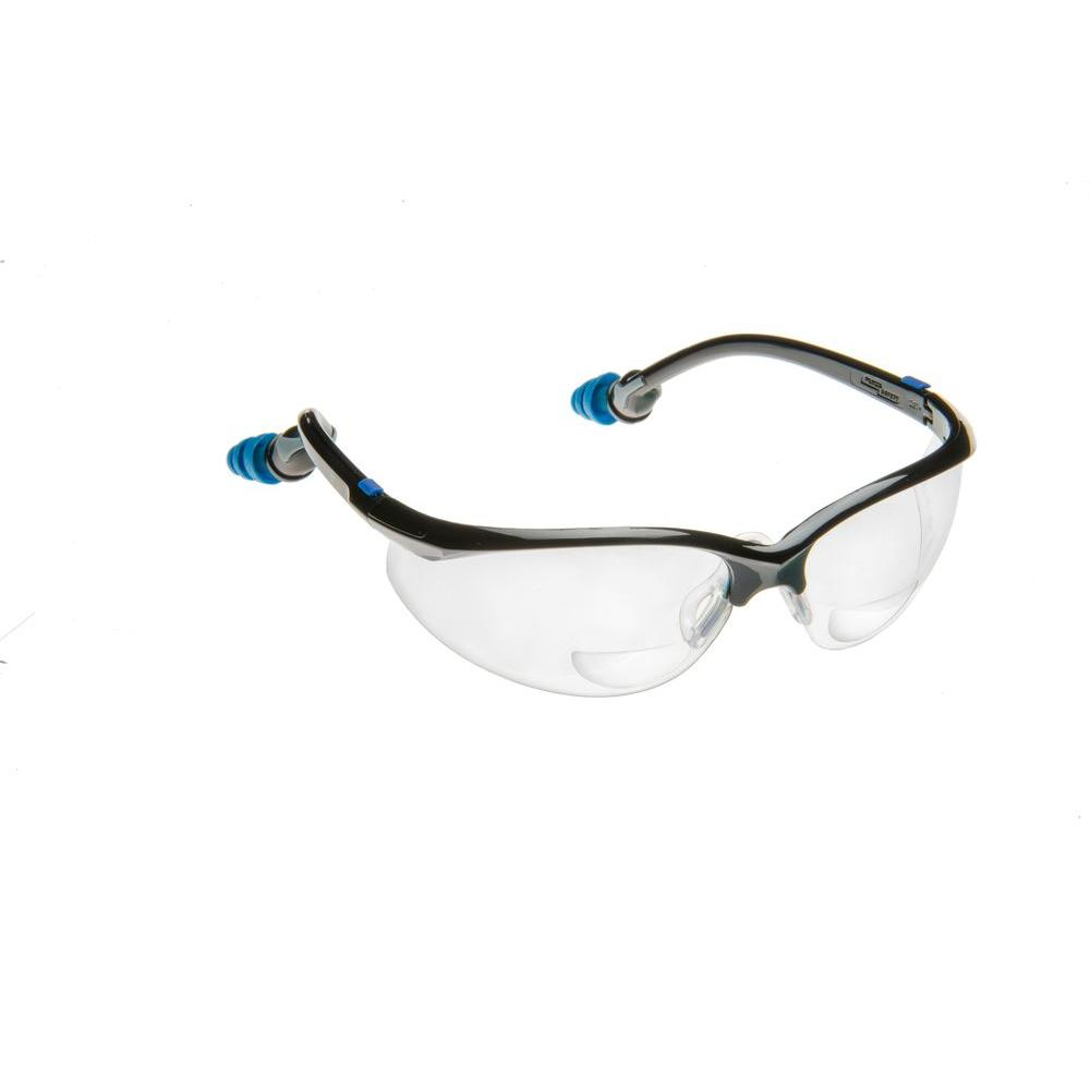 PlugsSafety Safety Glasses 2.0 Bifocal Clear Lens with PermaPlug Ear Plugs