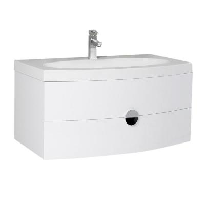 Energia 36 in. Bath Vanity in White with Acrylic Vanity Top in White with White Basin