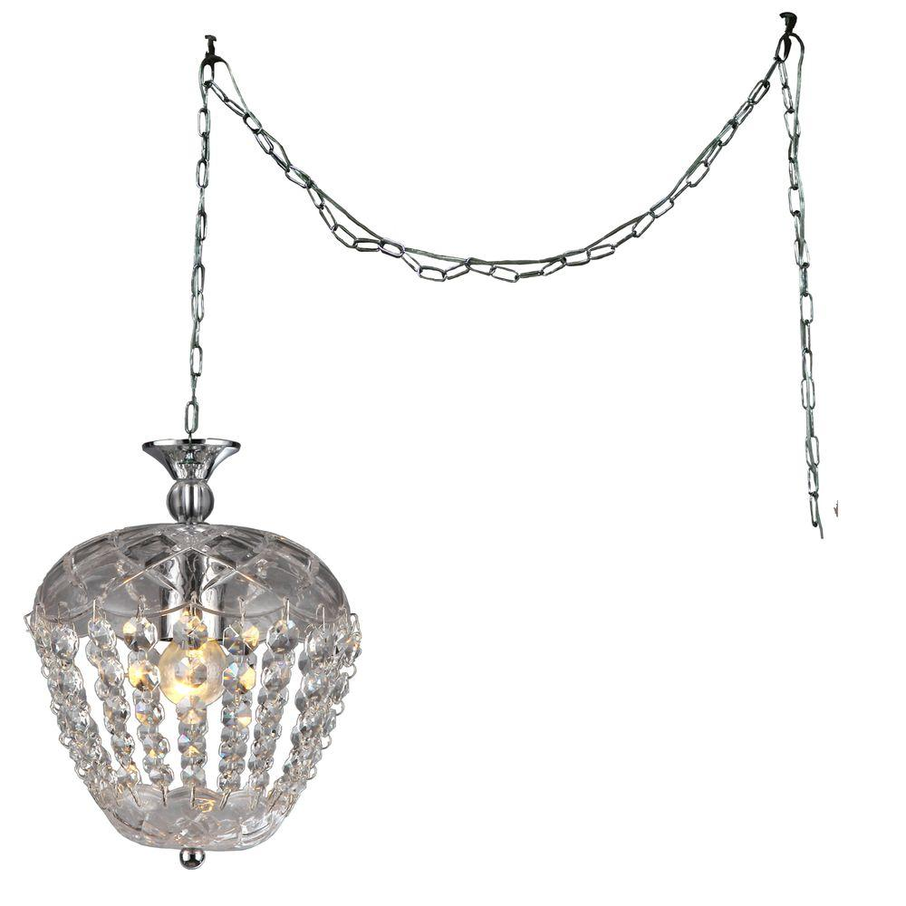 Miriam 8 In Chrome Indoor Crystal Swag Chandelier With Shade