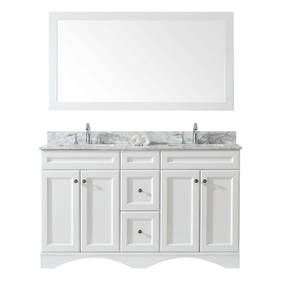 Virtu USA Talisa 60 in. W Bath Vanity in White with Marble Vanity Top in White with Square Basin and Mirror and Faucet