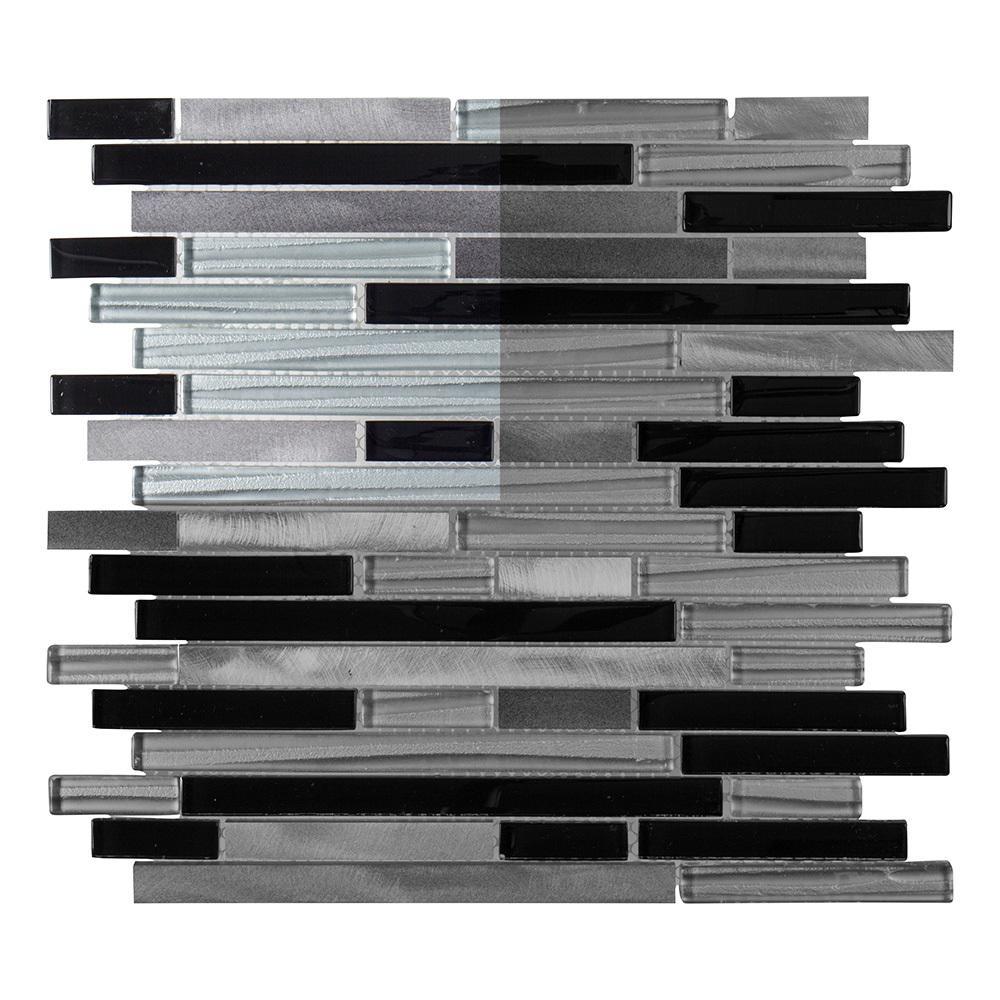 Binary Code 3 in. x 6 in. x 6mm Glass/Stone/Metal Mosaic Tile Sample
