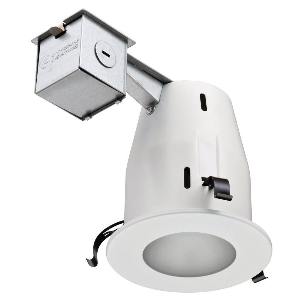 4 in. Matte White GU10 Glass Recessed Shower Kit
