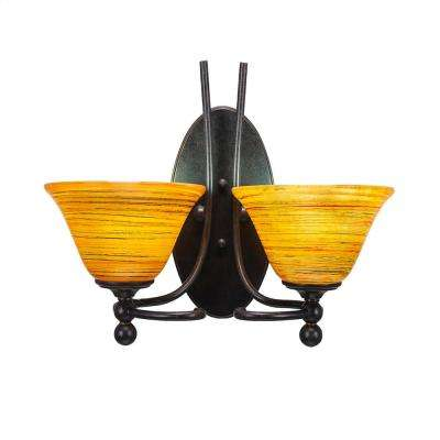 2-Light Dark Granite Sconce with Orange Marbleized Glass