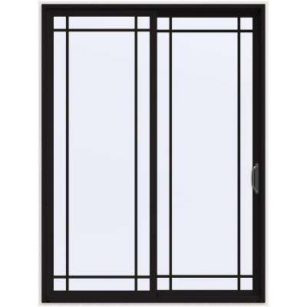 72 in. x 96 in. V-4500 Contemporary Black Painted Vinyl Right-Hand 9 Lite Sliding Patio Door w/White Interior