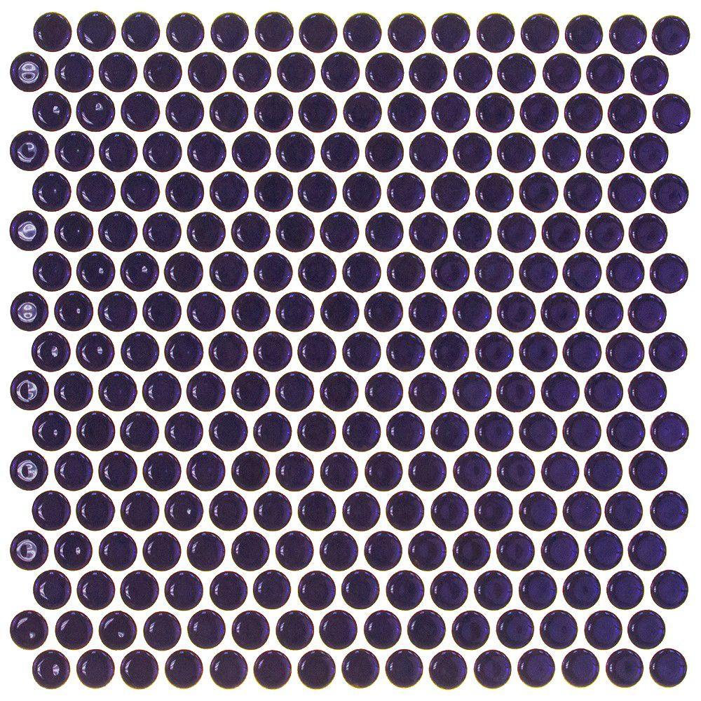 Splashback Tile Bliss Edged Penny Round Polished Midnight Blue