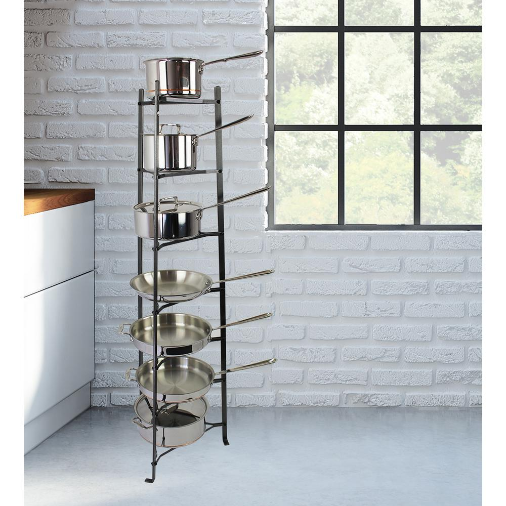 Enclume Handcrafted 7 Tier Gourmet Cookware Stand Hammered Steel Unembled