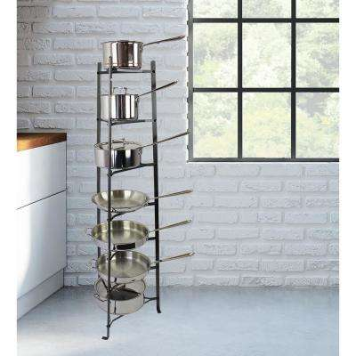 Handcrafted 7-Tier Gourmet Cookware Stand Hammered Steel (Unassembled)
