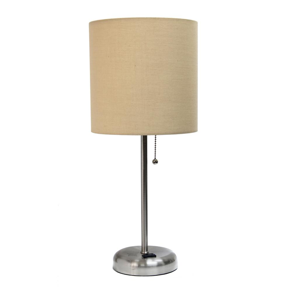 Tan Stick Lamp With Charging Outlet