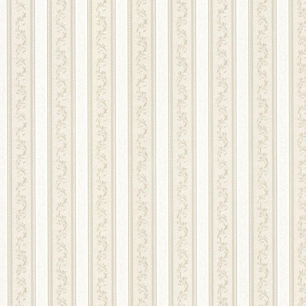 Kendra Taupe Scrolling Stripe Wallpaper