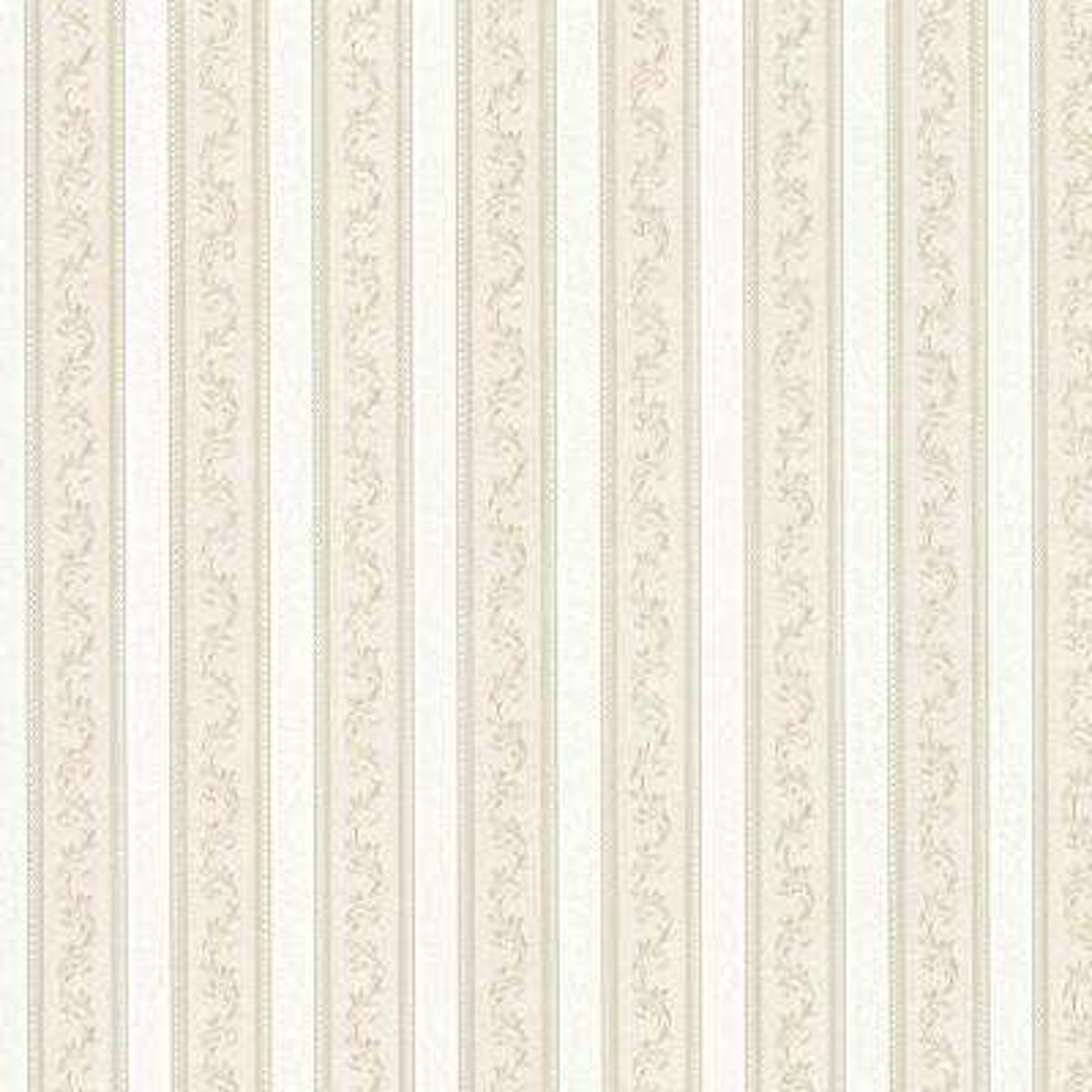 Kendra Taupe Scrolling Stripe Wallpaper Sample