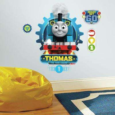 5 in. x 19 in. Thomas the Tank Engine 4-Piece Peel and Stick Wall Decal