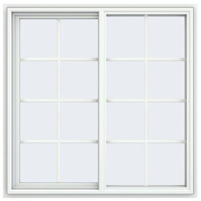 47.5 in. x 47.5 in. V-4500 Series White Vinyl Left-Handed Sliding Window with Colonial Grids/Grilles