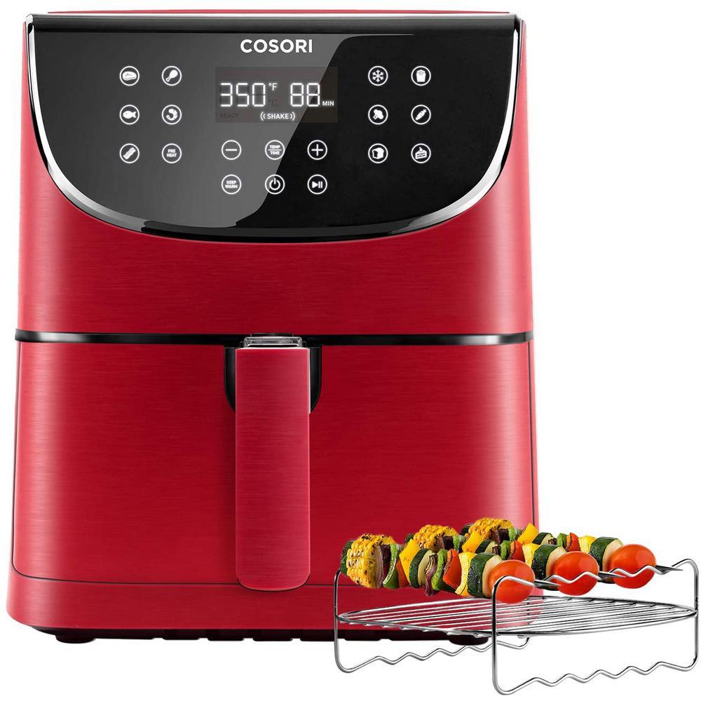 Premium 3.7 Qt. Red Air Fryer with Skewer Rack