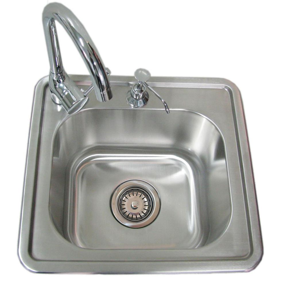 Sunstone 17 in. 304 Stainless Steel Single Sink with Cold...